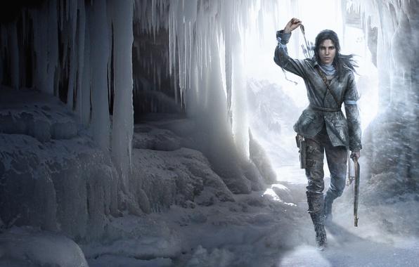 Picture girl, snow, bow, cave, Lara Croft, arrows, Square Enix, Lara Croft, Crystal Dynamics, Eidos Montreal, …