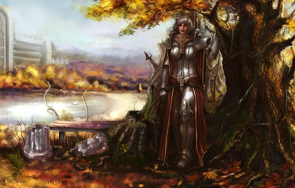 Picture autumn, leaves, girl, bench, pose, pond, tree, armor, Warhammer, Sisters of Battle