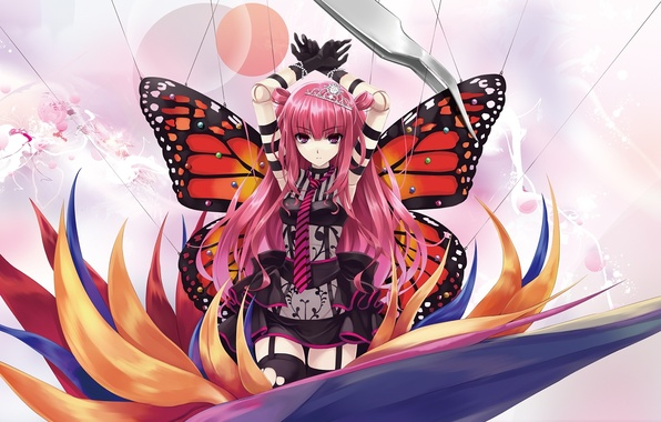 Picture flower, girl, butterfly, wings, doll, art, Diadema, thread, tweezers, misaki kurehito, pink hair, pins, ameto, …