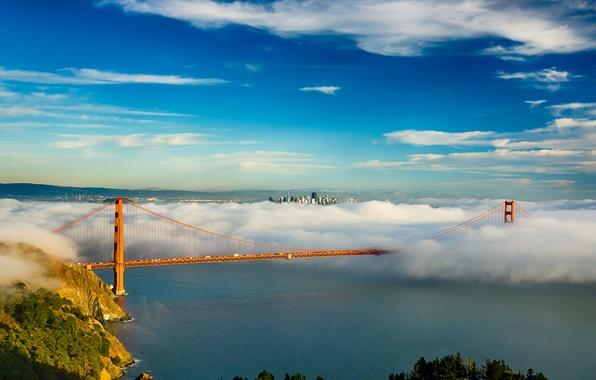 Picture the sky, clouds, bridge, the city, fog, Bay, San Francisco, Golden gate