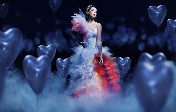 Picture girl, mood, balls, heart, dress