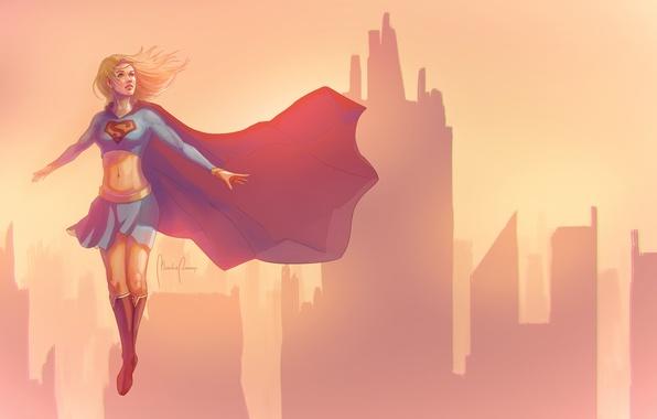 Picture girl, flight, sunset, building, minimalism, Supergirl