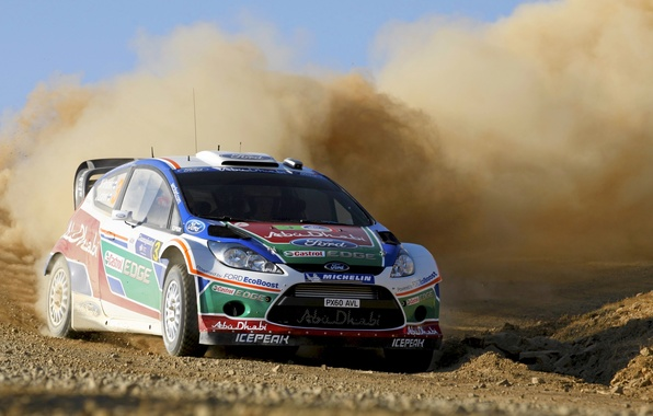 Picture Ford, Dust, Speed, Ford, Skid, Car, WRC, Rally, Fiesta, The front, the veil