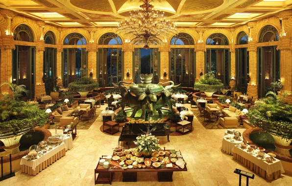 Picture table, sofa, food, chair, fountain, restaurant, hall, the hotel, the hotel