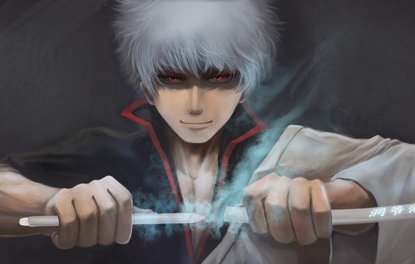 Picture sword, guy, anime, art, Gintama, Gintoki Sakata