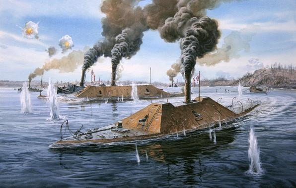 Picture USA, civil war, battleship, sea battle