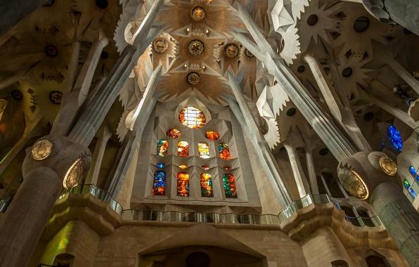 Picture columns, stained glass, Spain, religion, Barcelona, The Sagrada Familia