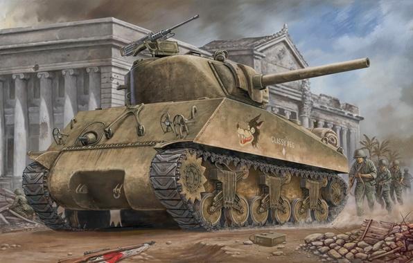 Picture war, art, painting, tank, ww2, m4a3 Sherman