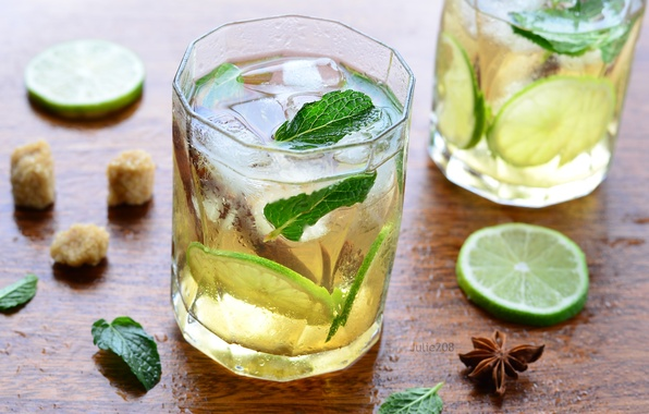 Picture ice, lime, drink, mint, lemonade