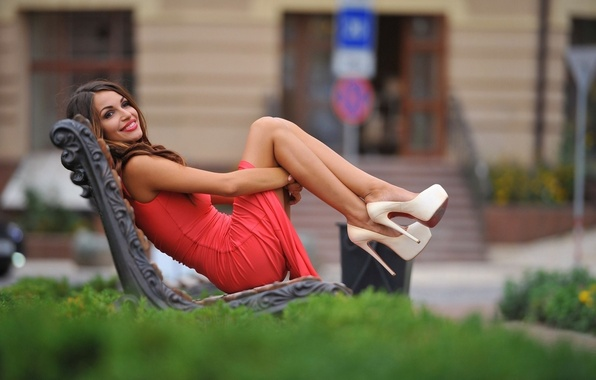 Picture greens, girl, bench, smile, mood, figure, dress, brunette, hairstyle, shoes, legs, in red, bokeh