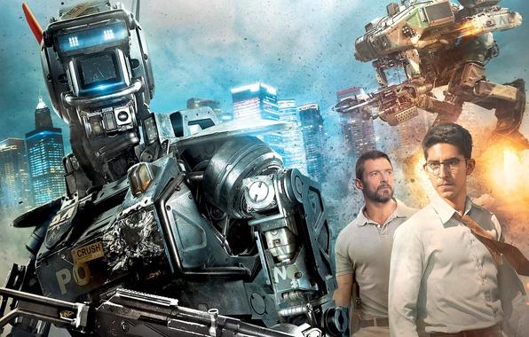 Picture weapons, robots, shooting, poster, Hugh Jackman, Hugh Jackman, Chappie, The robot named Chappy, Dev Patel, …
