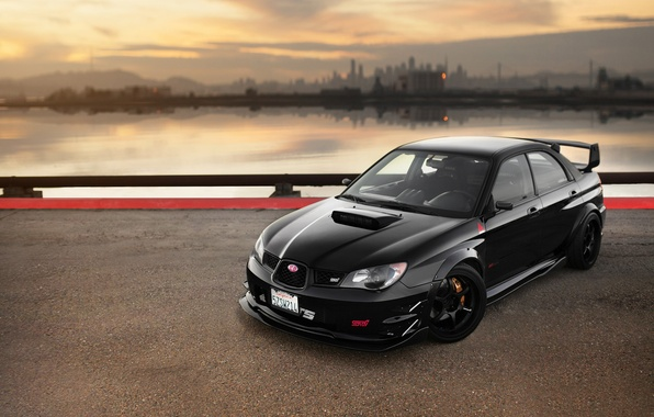 Picture car, black, Subaru, sti, rechange, Subaru Impreza