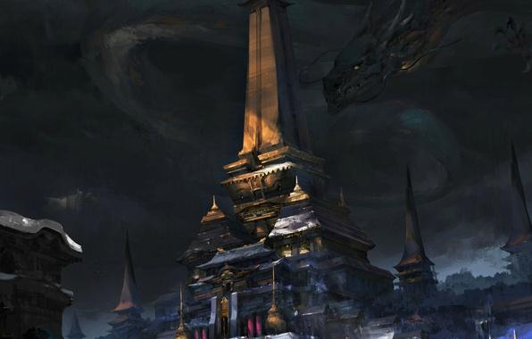 Picture fiction, dragon, art, temple