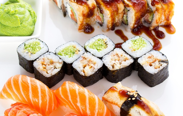 Picture fish, figure, rolls, sushi, sushi, fish, rolls, seafood, Japanese cuisine, seafood