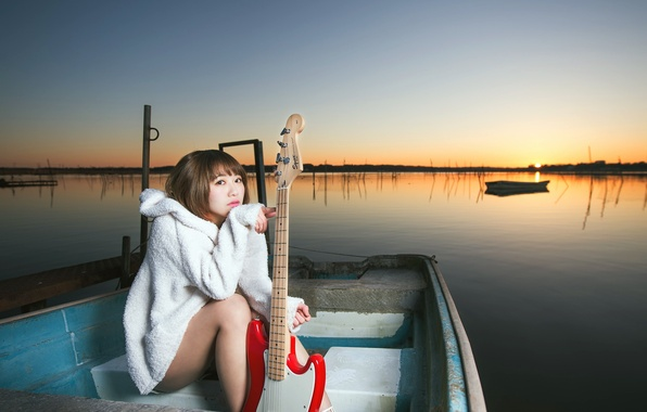 Picture girl, sunset, music, boat, guitar
