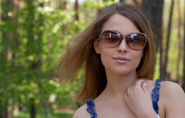 Picture summer, girl, face, smile, background, widescreen, Wallpaper, model, glasses, wallpaper, girl, summer, smile, widescreen, background, …