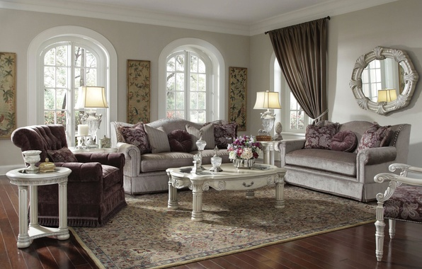 Picture flowers, design, style, sofa, pillow, mirror, window, table, living room