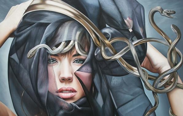 Picture snakes, girl, shawl, Medusa