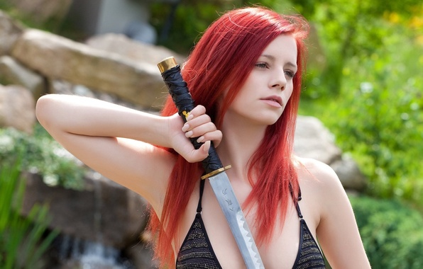 Picture katana, red, Ariel