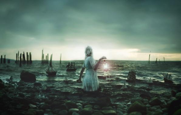 Picture sea, girl, lantern, boats