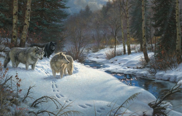 Picture winter, forest, animals, stream, the evening, wolves, painting, Mark Keathley, Valley of Shadows, the Yurt