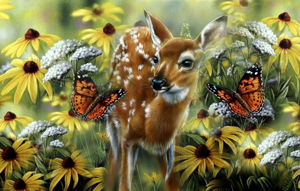 Picture summer, butterfly, baby, meadow, art, fawn, Rebecca Latham