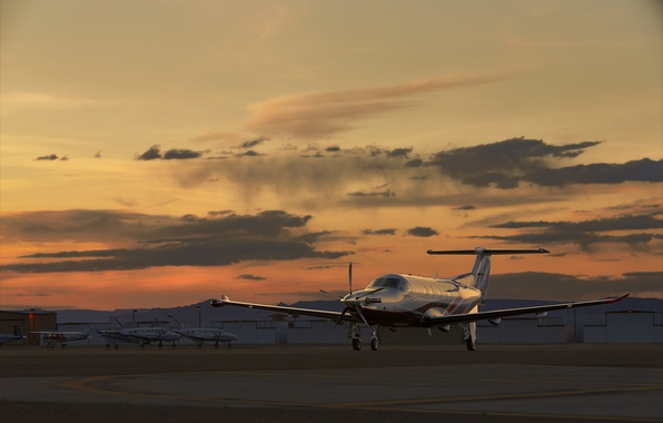 Wallpaper sunset, the plane, the airfield, PILATUS, PC-12 images for desktop, section авиация - download