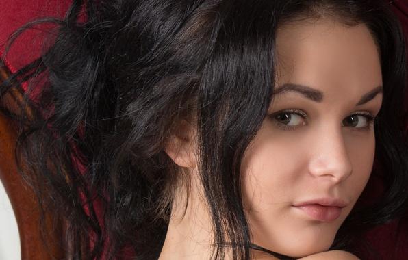 Picture eyes, look, girl, macro, face, model, hair, brunette, shoulder, neck, Josephine