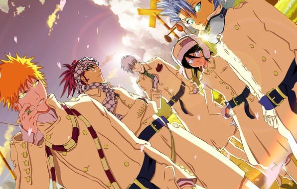 Picture Bleach, Ichigo Kurosaki, anime, Kuchiki Rukia, shinigami, Renji Abarai, Toshiro Hitsugaya, Gin Ichimaru