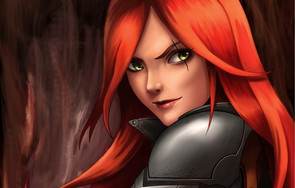 Picture look, art, League of Legends, Katarina, red hair