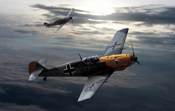 Picture the sky, clouds, figure, Messerschmitt, aircraft, The second world war, Bf.109, Messerschmitt