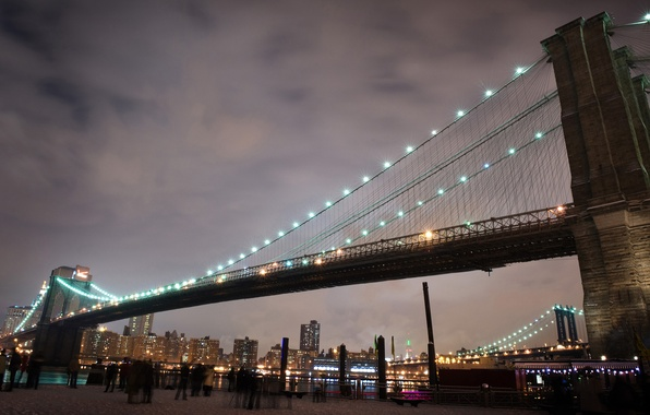 Picture New York, Lights, Bridge, People