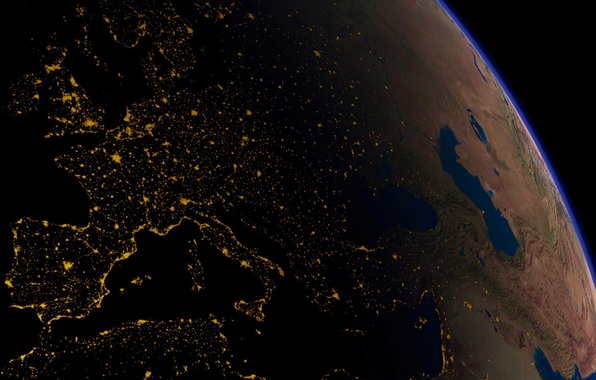 Picture space, night, lights, darkness, earth, planet, Italy