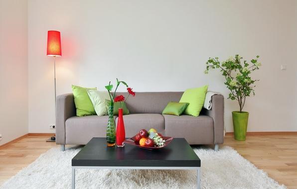 Picture flower, room, sofa, pillow, lamp, fruit, table, vases
