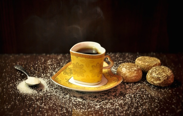Picture yellow, background, widescreen, Wallpaper, tea, heart, food, spoon, mug, Cup, sweets, wallpaper, form, heart, widescreen, …