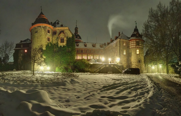 Picture winter, snow, trees, night, lights, castle, Germany, lights, the snow, Laubach Castle
