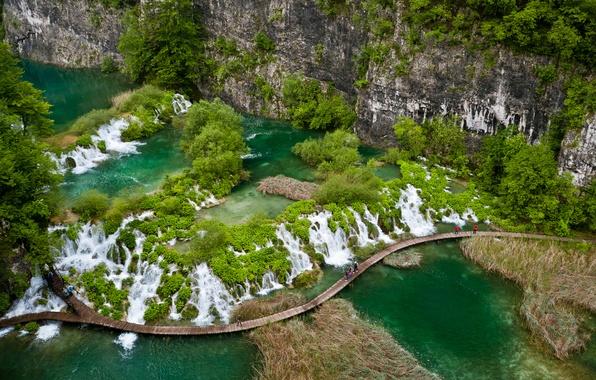 Picture greens, rock, lake, tropics, vegetation, waterfall, the bridge, Croatia, Natur, Plitvice lakes, Plitvice Lakes, National …