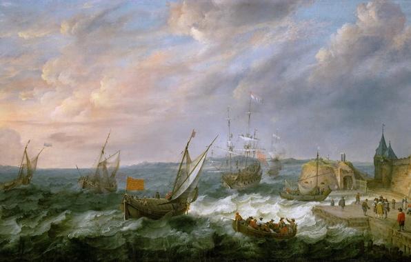 Picture sea, landscape, storm, people, picture, Adam Willaerts, SEAPORT