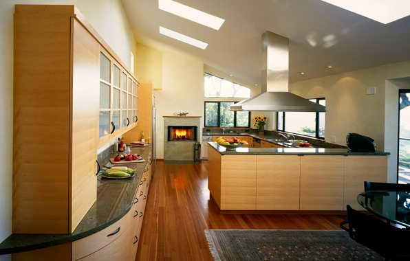 Picture design, style, room, fire, food, interior, kitchen, fireplace, fruit, apartment, vegetables