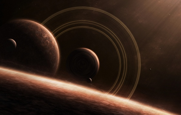 Picture space, stars, planet, satellite, ring
