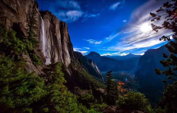 Picture forest, the sky, stars, light, mountains, night, lights, rocks, the moon, waterfall, valley, USA, Yosemite …