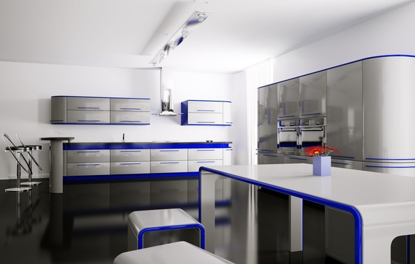 Picture flowers, blue, table, room, chairs, interior, kitchen, apartment, shelves, lockers