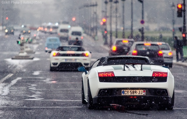 Picture road, snow, Lamborghini, traffic light, white, gallardo, ferrari, cars, f430