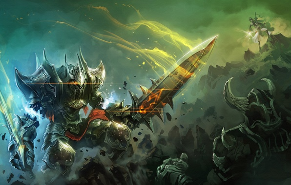 Picture magic, sword, warrior, battle, art, armor, world of legend