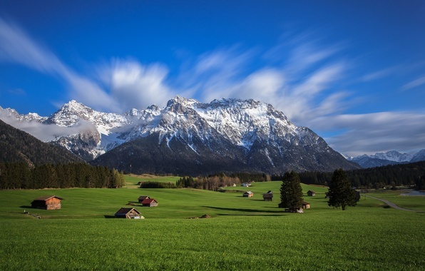 Picture the sky, grass, trees, mountains, home, valley, Alps