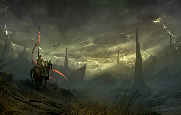 Picture landscape, horse, zipper, dragon, fantasy, art, rider