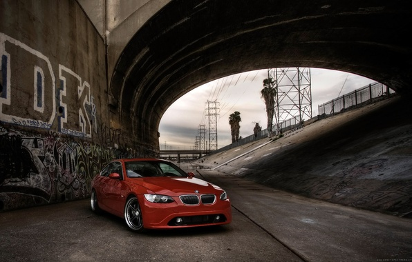 Picture red, bridge, BMW, BMW, channel