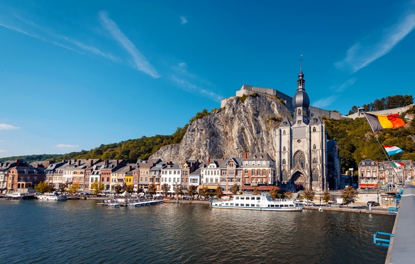 Picture landscape, river, rocks, home, Belgium, the citadel, promenade, Dinant, Church of our lady, Maas