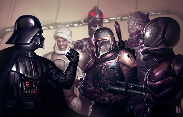 Picture art, Darth Vader, Darth Vader, star wars, Star wars, mercenaries, criminals