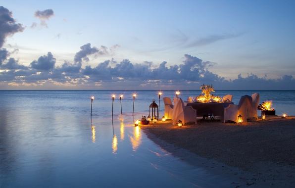 Picture beach, the ocean, romance, the evening, candles, beach, ocean, sunset, view, romantic, dinner, dinner
